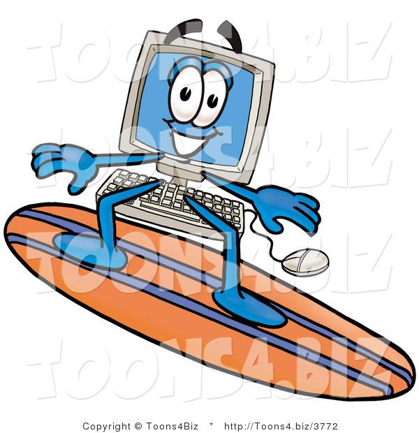 Illustration of a Cartoon Computer Mascot Surfing on a Blue and Orange Surfboard