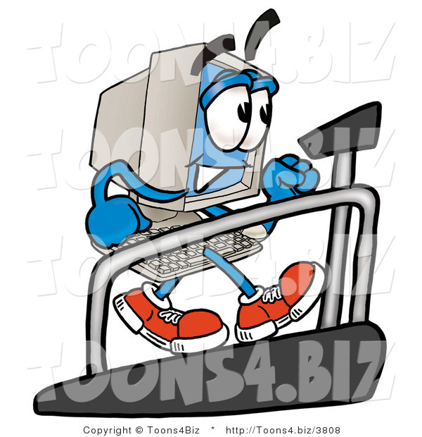 Illustration of a Cartoon Computer Mascot Walking on a Treadmill in a Fitness Gym