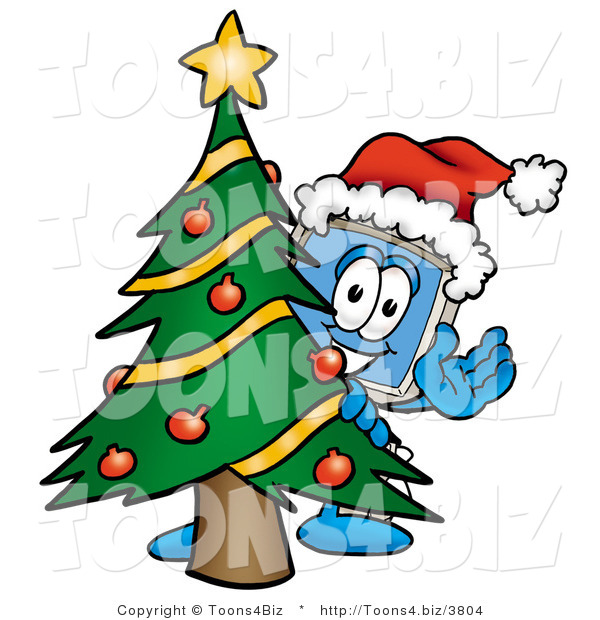 Illustration of a Cartoon Computer Mascot Waving and Standing by a Decorated Christmas Tree