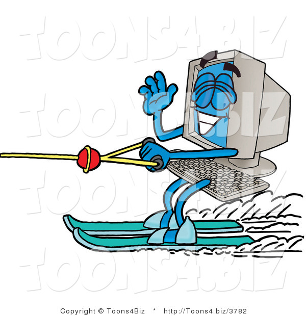 Illustration of a Cartoon Computer Mascot Waving While Water Skiing