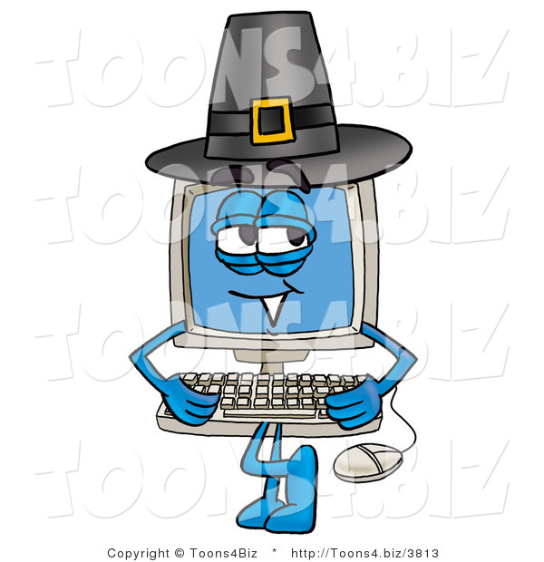 Illustration of a Cartoon Computer Mascot Wearing a Pilgrim Hat on Thanksgiving