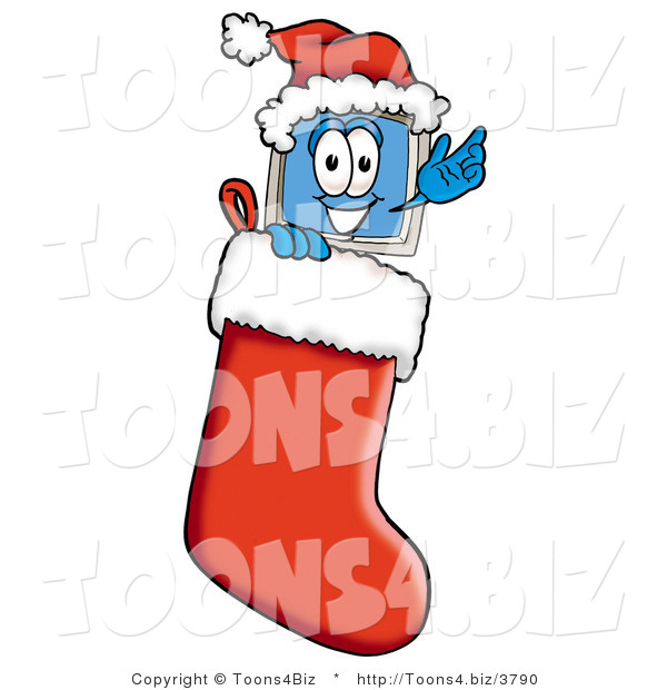 Illustration of a Cartoon Computer Mascot Wearing a Santa Hat Inside a Red Christmas Stocking
