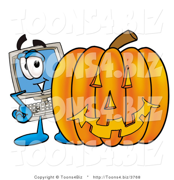 Illustration of a Cartoon Computer Mascot with a Carved Halloween Pumpkin