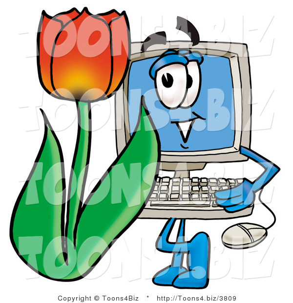 Illustration of a Cartoon Computer Mascot with a Red Tulip Flower in the Spring