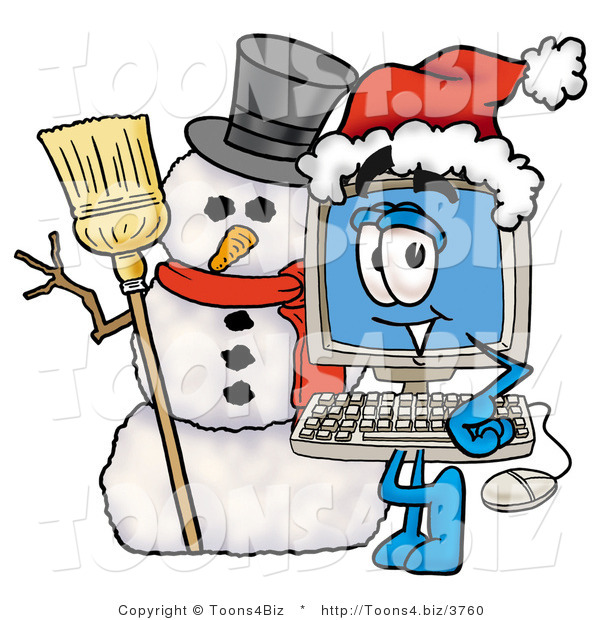 Illustration of a Cartoon Computer Mascot with a Snowman on Christmas