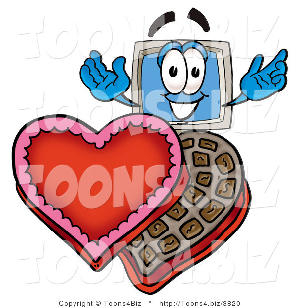Illustration of a Cartoon Computer Mascot with an Open Box of Valentines Day Chocolate Candies