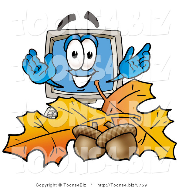Illustration of a Cartoon Computer Mascot with Autumn Leaves and Acorns in the Fall