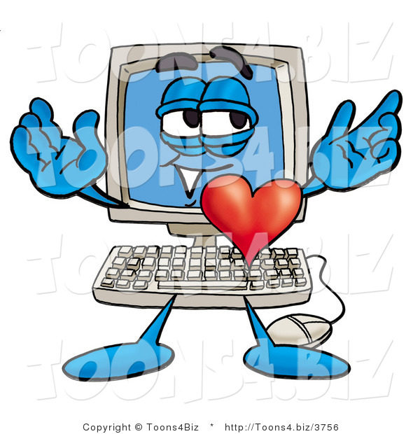 Illustration of a Cartoon Computer Mascot with His Heart Beating out of His Chest