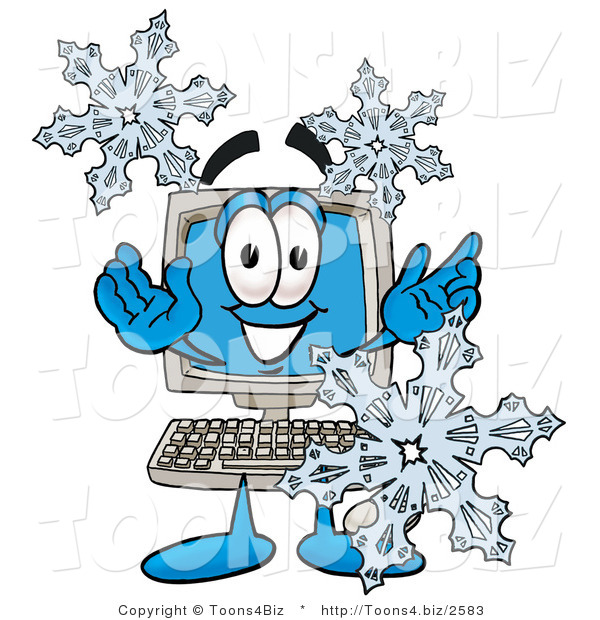 Illustration of a Cartoon Computer Mascot with Three Snowflakes in Winter