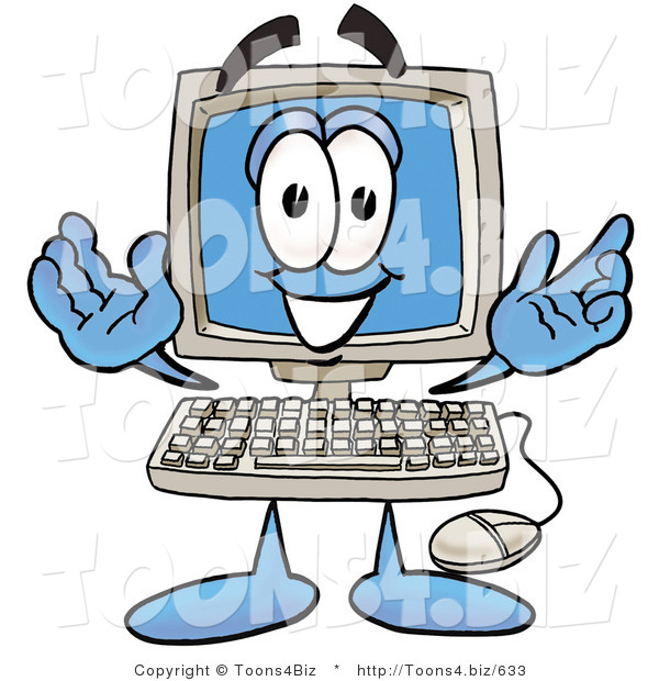 Illustration of a Cartoon Computer Mascot with Welcoming Open Arms