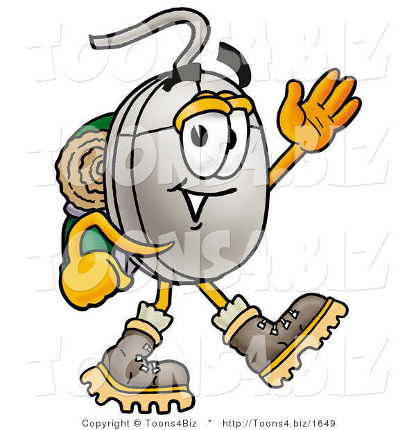 Illustration of a Cartoon Computer Mouse Mascot Hiking and Carrying a Backpack
