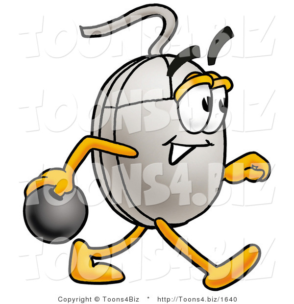 Illustration of a Cartoon Computer Mouse Mascot Holding a Bowling Ball
