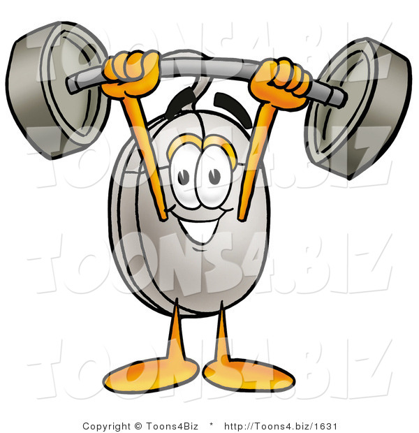 Illustration of a Cartoon Computer Mouse Mascot Holding a Heavy Barbell Above His Head
