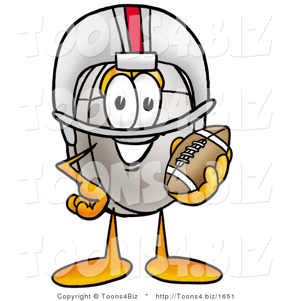 Illustration of a Cartoon Computer Mouse Mascot in a Helmet, Holding a Football