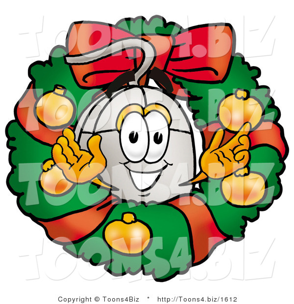 Illustration of a Cartoon Computer Mouse Mascot in the Center of a Christmas Wreath