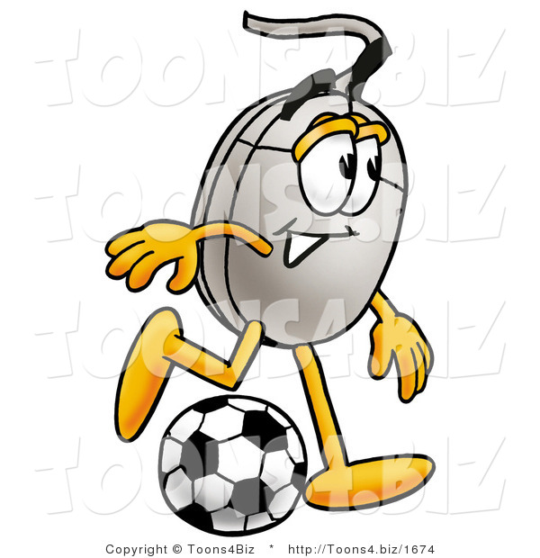 Illustration of a Cartoon Computer Mouse Mascot Kicking a Soccer Ball