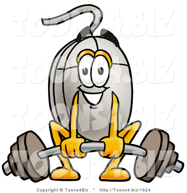Illustration of a Cartoon Computer Mouse Mascot Lifting a Heavy Barbell