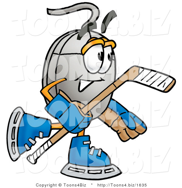 Illustration of a Cartoon Computer Mouse Mascot Playing Ice Hockey