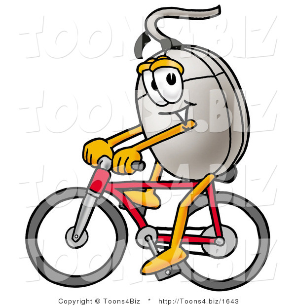 Illustration of a Cartoon Computer Mouse Mascot Riding a Bicycle