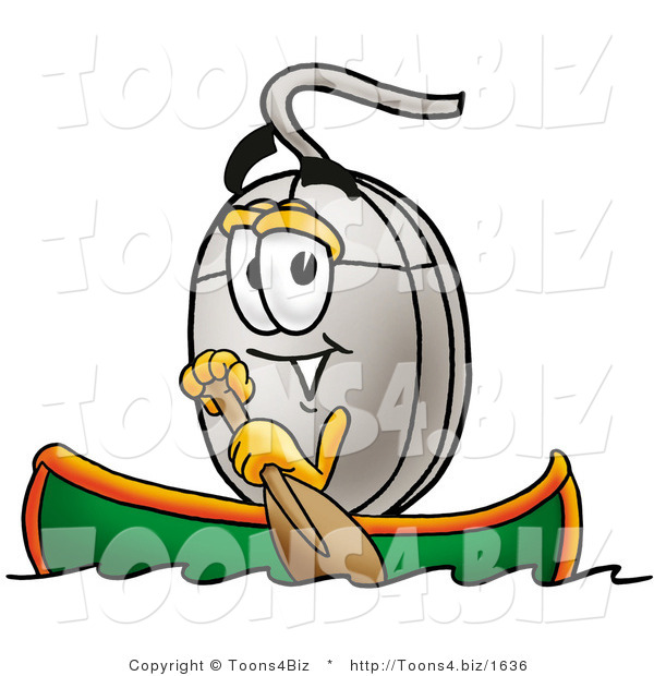 Illustration of a Cartoon Computer Mouse Mascot Rowing a Boat
