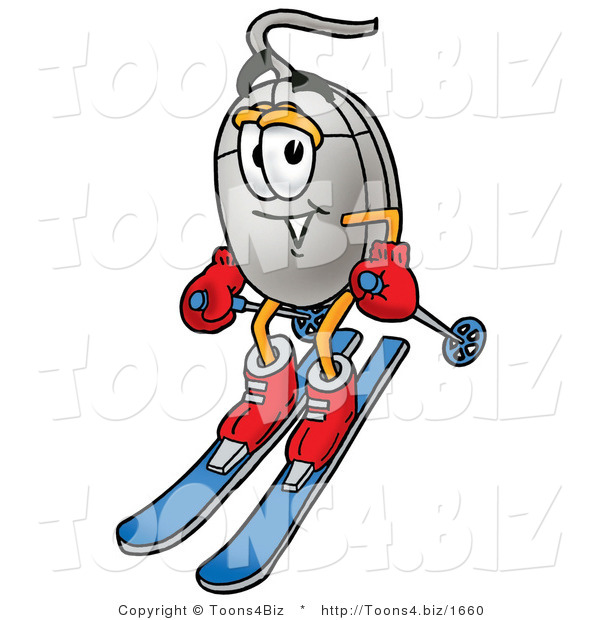 Illustration of a Cartoon Computer Mouse Mascot Skiing Downhill