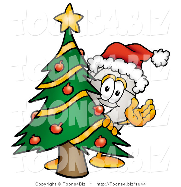 Illustration of a Cartoon Computer Mouse Mascot Waving and Standing by a Decorated Christmas Tree