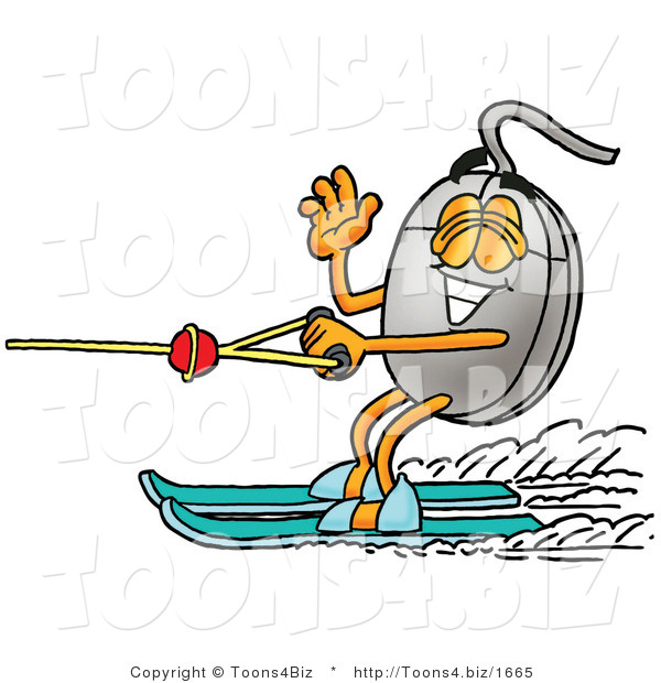 Illustration of a Cartoon Computer Mouse Mascot Waving While Water Skiing