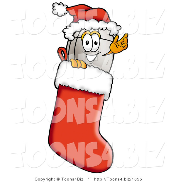 Illustration of a Cartoon Computer Mouse Mascot Wearing a Santa Hat Inside a Red Christmas Stocking