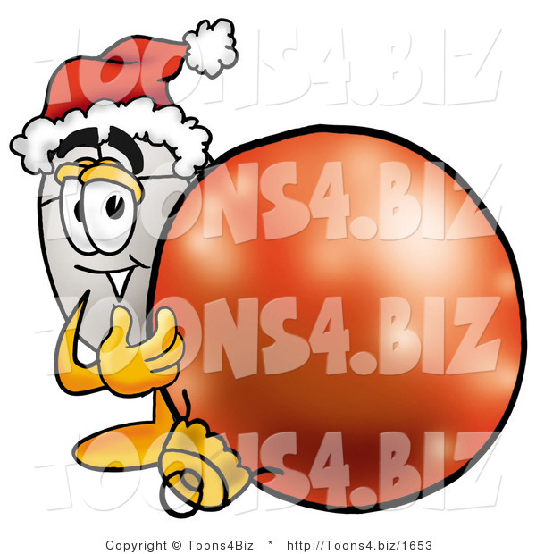 Illustration of a Cartoon Computer Mouse Mascot Wearing a Santa Hat, Standing with a Christmas Bauble