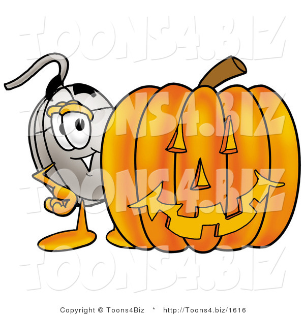 Illustration of a Cartoon Computer Mouse Mascot with a Carved Halloween Pumpkin