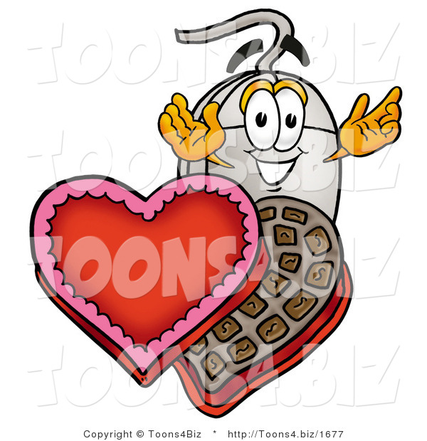 Illustration of a Cartoon Computer Mouse Mascot with an Open Box of Valentines Day Chocolate Candies