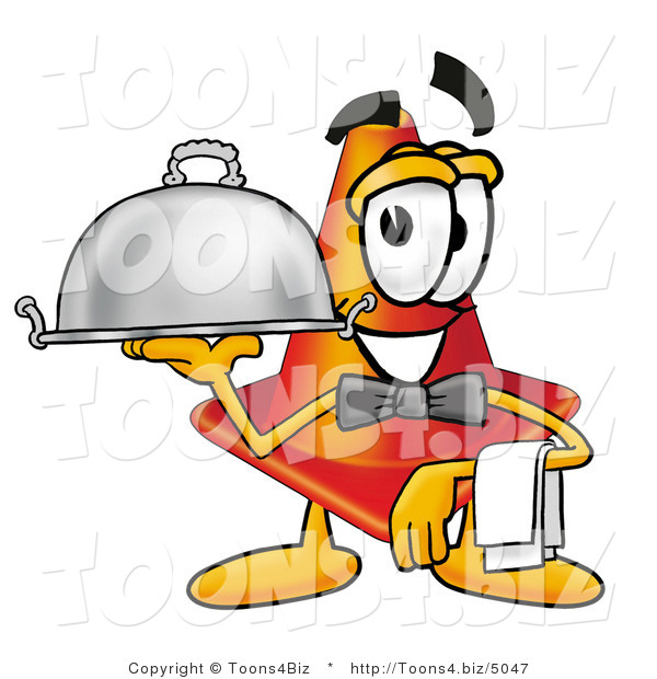 Illustration of a Cartoon Construction Safety Cone Mascot Dressed As a Waiter and Holding a Serving Platter