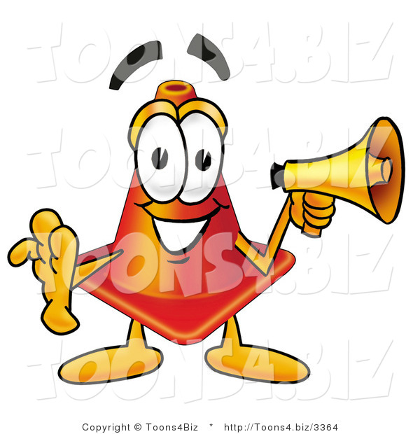 Illustration of a Cartoon Construction Safety Cone Mascot Holding a Megaphone
