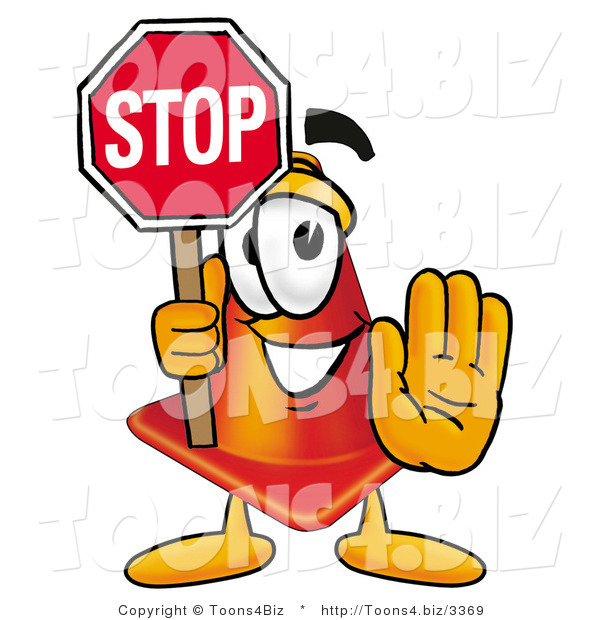 Illustration of a Cartoon Construction Safety Cone Mascot Holding a Stop Sign