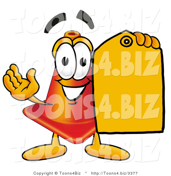 Illustration of a Cartoon Construction Safety Cone Mascot Holding a Yellow Sales Price Tag