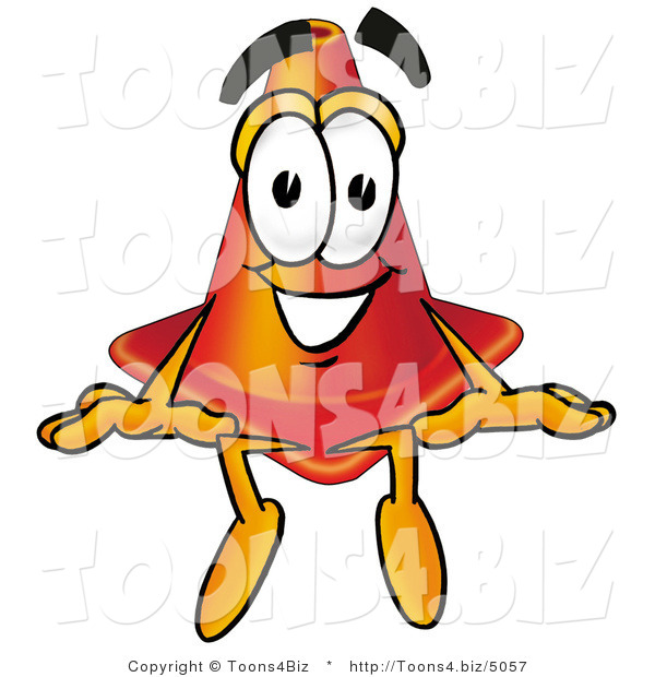 Illustration of a Cartoon Construction Safety Cone Mascot Sitting