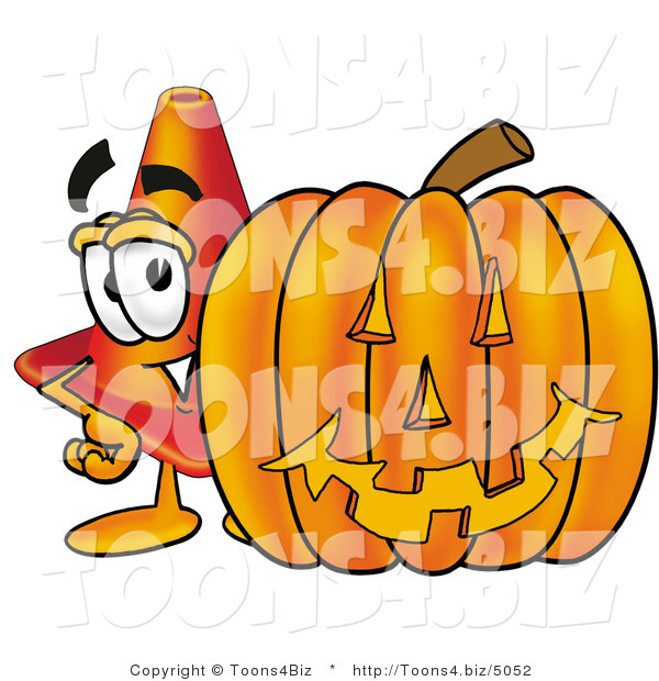 Illustration of a Cartoon Construction Safety Cone Mascot with a Carved Halloween Pumpkin