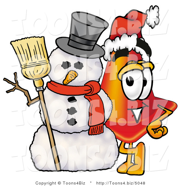 Illustration of a Cartoon Construction Safety Cone Mascot with a Snowman on Christmas