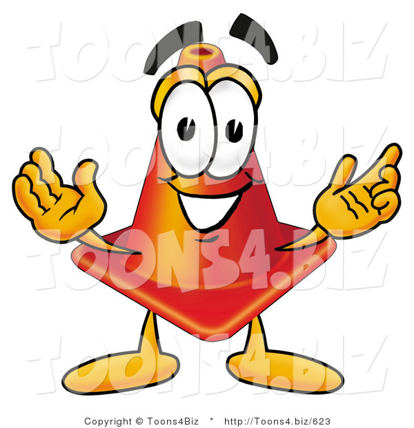 Illustration of a Cartoon Construction Safety Cone Mascot with Welcoming Open Arms