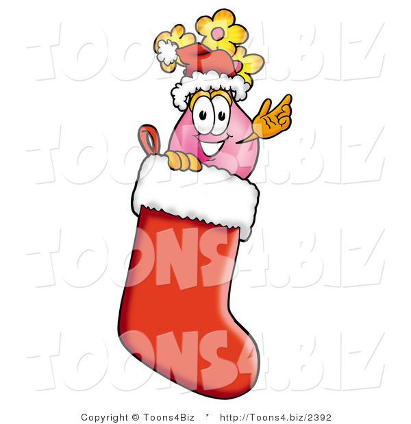Illustration of a cartoon flowers mascot wearing santa