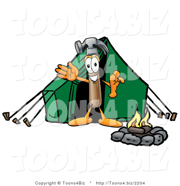Illustration of a Cartoon Hammer Mascot Camping with a Tent and Fire