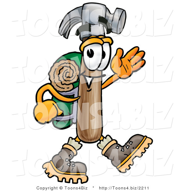 Illustration of a Cartoon Hammer Mascot Hiking and Carrying a Backpack