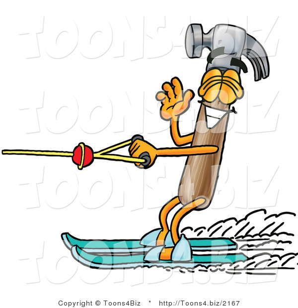 Illustration of a Cartoon Hammer Mascot Waving While Water Skiing