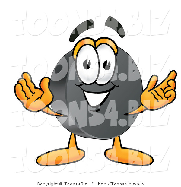 Illustration of a Cartoon Hockey Puck Mascot with Welcoming Open Arms
