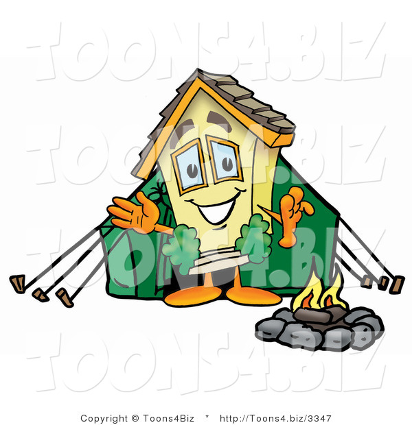 Illustration of a Cartoon House Mascot Camping with a Tent and Fire