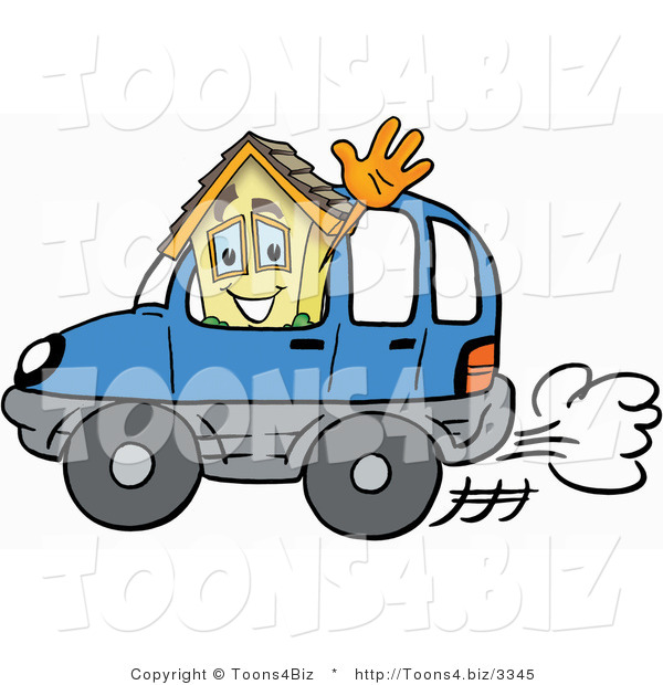 Illustration of a Cartoon House Mascot Driving a Blue Car and Waving