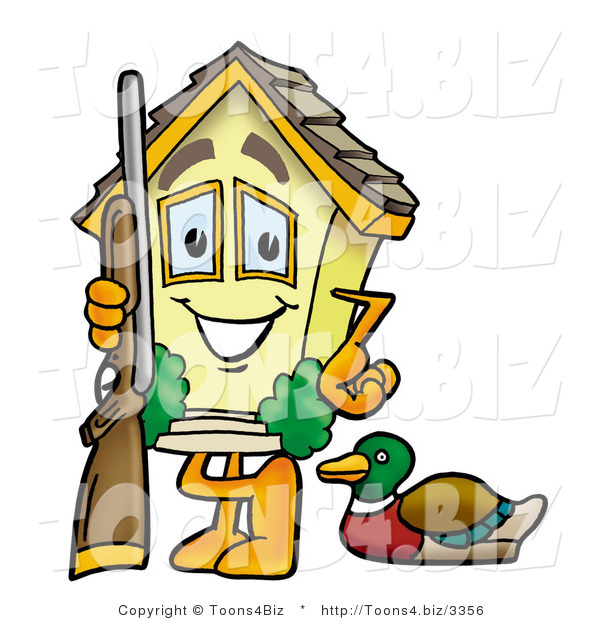 Illustration of a Cartoon House Mascot Duck Hunting, Standing with a Rifle and Duck