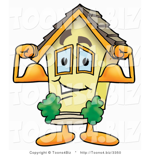 Illustration of a Cartoon House Mascot Flexing His Arm Muscles