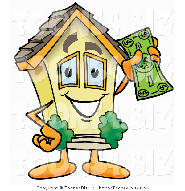 Illustration of a Cartoon House Mascot Holding a Dollar Bill