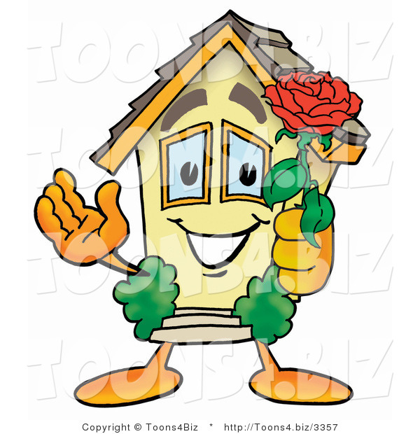 Illustration of a Cartoon House Mascot Holding a Red Rose on Valentines Day